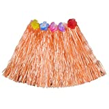 Luau Beach Party Halloween Costume Party Hawaiian Dance Hula Skirt Grass Skirt, Orange(pack of 3)