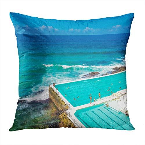 Suklly Throw Pillow Cover Square 16x16 Inch Bondi Beach Swimming Pool Sydney Cushion Home Sofa Decor Hidden Zipper Polyester Pillowcase