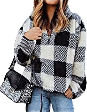 BTFBM Women Long Sleeve Zipper Sherpa Sweatshirt Soft Fleece Pullover Outwear Coat