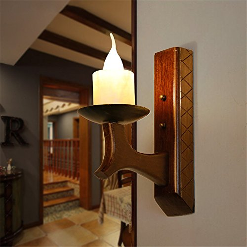 LED Wall Lights Wall Sconce Light Fixture Up Down Wall LightingVillage Candle Wall lamp Solid Wood Wooden Arts Creative Chinese Mediterranean Restaurant Retro Lamps Faux Marble Light (280300mm)