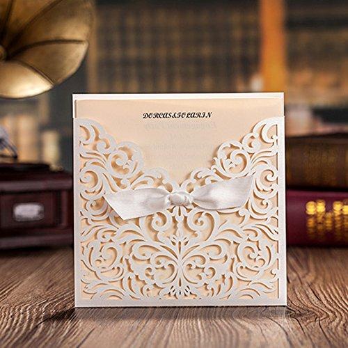 Doris Home Vertical Square White Laser Cut Wedding Invitation with White Ribbon, CW5002, 100 pcs by Doris Home