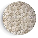 7'' Decorative Ceramic Plate Beige Exotic Marine Animals in Retro Style Ilustration Shells Starfish Seahorse Contemporary Deco Decorative