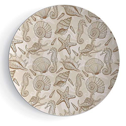 7'' Decorative Ceramic Plate Beige Exotic Marine Animals in Retro Style Ilustration Shells Starfish Seahorse Contemporary Deco Decorative by iPrint
