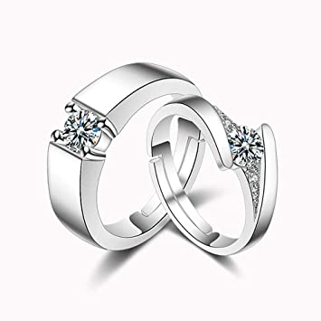 Axiba Anillos de Metal Chapado en Oro Blanco con Incrustaciones de Diamante para Parejas de Moda