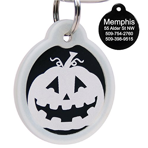 Halloween Dog Tag Personalized w/ 4 Lines of Custom Engraved Text. Holiday Dog Collar ID Tags Come w/Glow in The Dark Silencer to Protect Tag & Engraving.]()