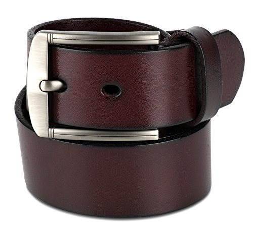 Scott Allan Men's Full Grain 100% Leather Belt - Burgundy/Wine, Size 38 - Belt Wine