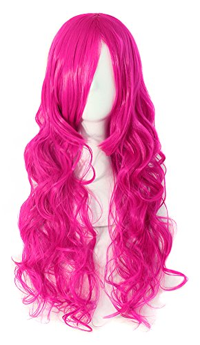 MapofBeauty 70cm Long Pink Wavy Cosplay Party Wig (Rose Red) ()