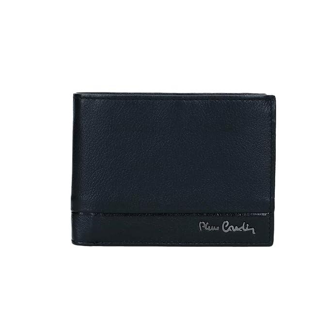 PIERRE CARDIN cartera hombre cuero negro martillado monedero y solapa VA2725: Amazon.es: Ropa y accesorios