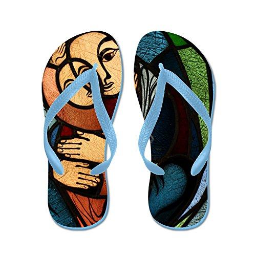 Echt Teague Heren Gebrandschilderd Glas Moeder En Kind Rubberen Slippers Sandalen Caribbean Blue