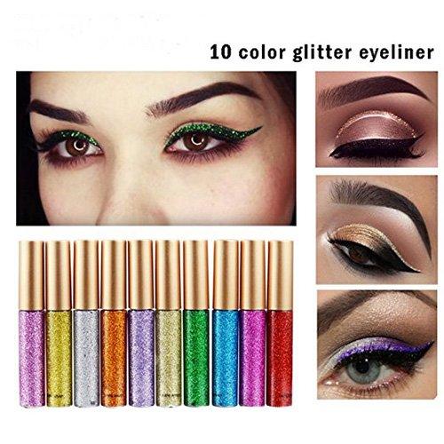 Glitter Liquid Eyeshadow 10 Colors Set-Waterproof Sparkle Eyeliner Long Lasting Metallic Glitter Eyeliner Pen Shimmer Eye Shadow for Parties, Cosplay, (Waterproof Eye Colour Base)