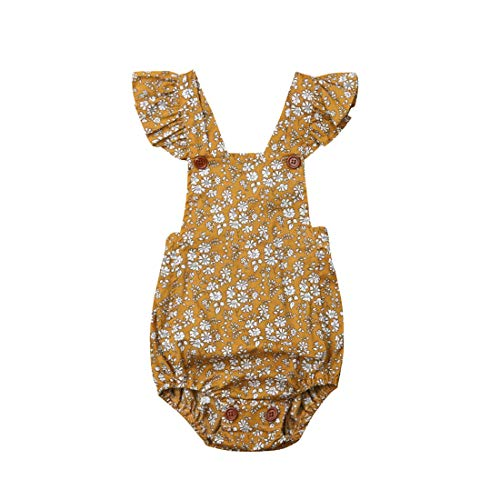 Infant Baby Girl Twins Ruffle Sleeve Floral Romper Bodysuit Bowknot Newborn Girl Clothes Outfit (Yellow Romper 2, 18-24) -