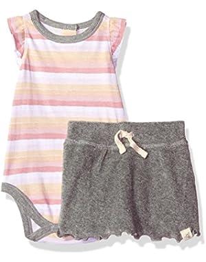 Baby Girls' Organic Sleeveless Bodysuit and Skort Set