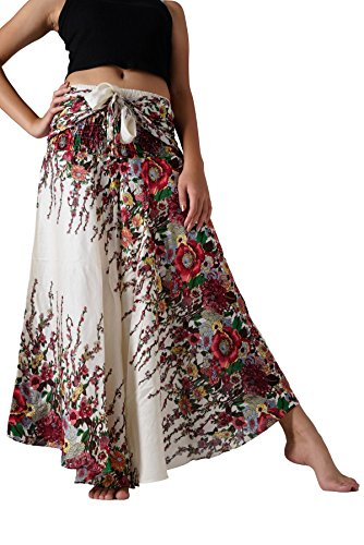 Bangkokpants Women's Long Hippie Bohemian Skirt Gypsy Dress Boho Clothes Flowers One Size Fits (White Flowers, One size)