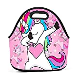 Neoprene Lunch Bag - DAB Dabbing Unicorn Lunch Tote Bags for Women & Girls - Lunch Boxes for Kids & Adult Lunch Box