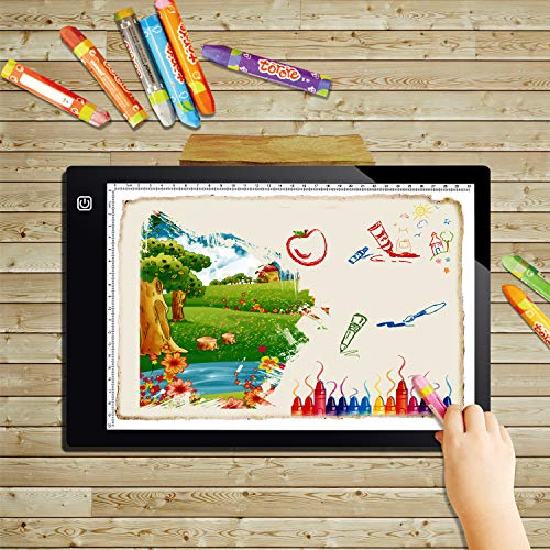 LED Light Box Pad A4 L4S Ultra Thin 5mm 17.6 Inch New Improved Structure Touch Dimmer Portable Diamond Painting Light Pad Board Box USB Cable for Drawing, Sketching, Animation, X-ray Viewing