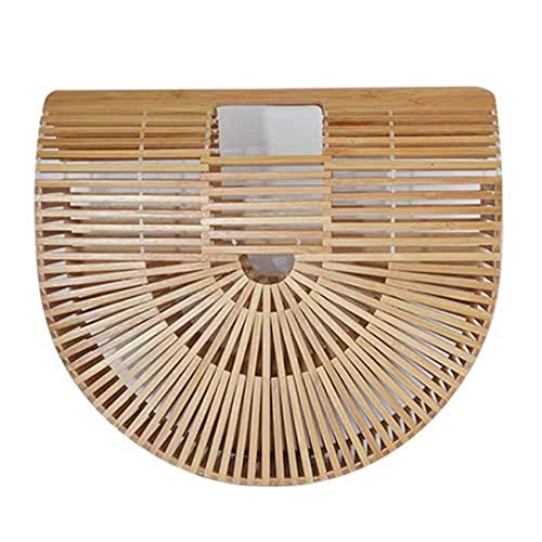 - Fashion Outdoor Summer Bamboo Handbag For Ladies Women Half Round Bamboo Bag Woven Straw Beach Bag Basket Female Tote Bags Wooden Purse Brown Large 32CM