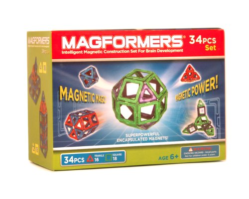 Magformers Magnetic Set (34-Pieces) Magnetic Building Blocks, Educational Magnetic Tiles Kit , Magnetic Construction STEM Set