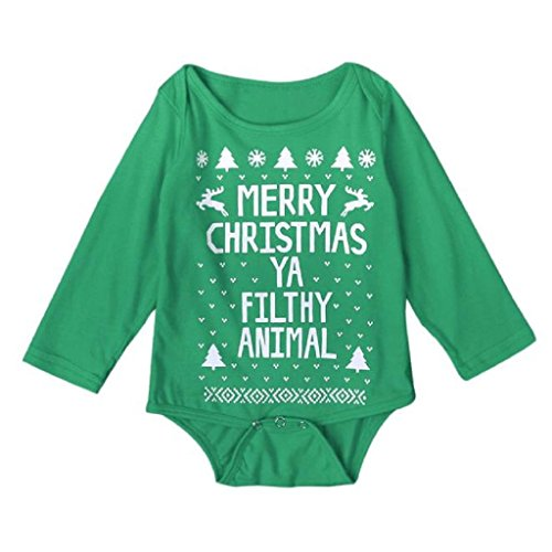SUPPION 2016 Baby Christmas Romper Jumpsuit Long sleeve Outfit Set (3T, Green)