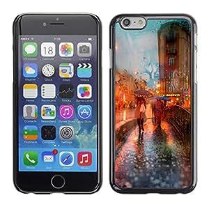 MOBMART Carcasa Funda Case Cover Armor Shell PARA Apple iPhone 6 PLUS / 6S PLUS 5.5 - Ladies With Umbrellas At Dusk