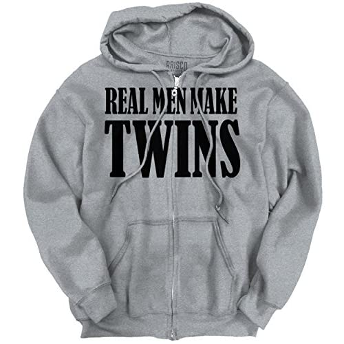 Real Men Make Twins Father To Be Dad Pregnant Maternity Funny Zip Hoodie high-quality