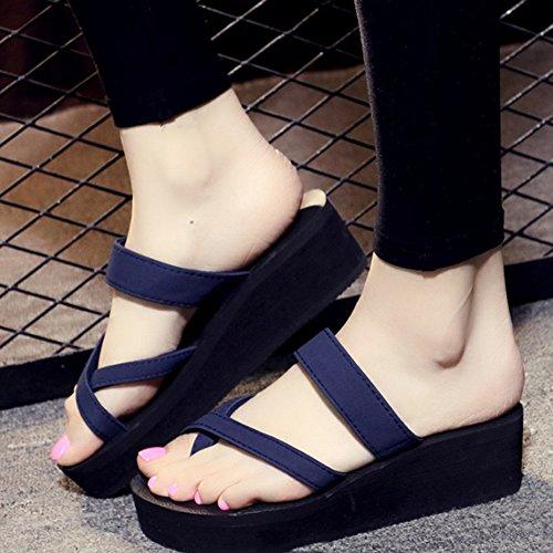 Cómodo Sandalias gruesas Sandalias de tacón alto del desgaste del verano femenino Pendiente de la manera con los deslizadores planos Zapatillas de deporte antideslizantes de los zapatos de la playa (3 C