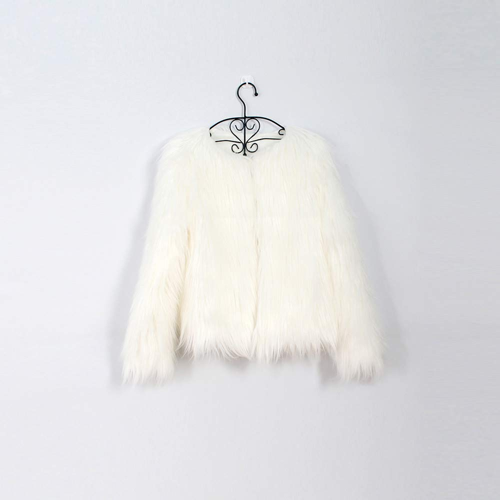 SHITOU Toddler Kids Baby Girl Winter Warm Clothes Faux Fur Thick Solid Coat Outwear