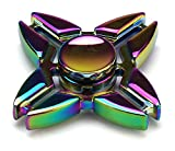 Full Metal Neo Chrome Quad Star Toy Fidget Spinner, Great for Anxiety, Focusing, ADHD, Autism, Quitting Bad Habits, Staying Awake