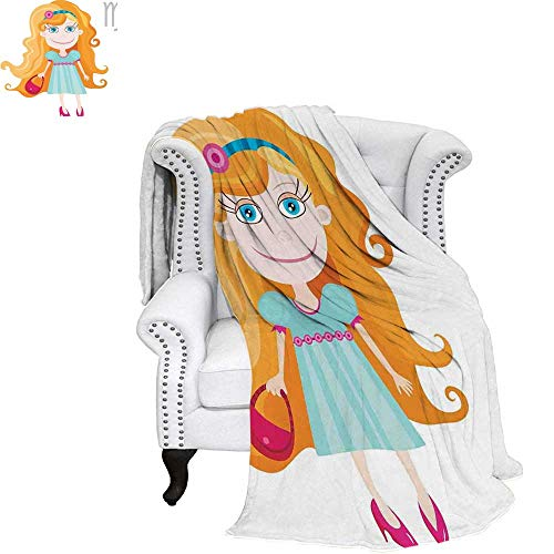 WilliamsDecor Zodiac Virgo Velvet Plush Throw Blanket Little Cartoon Girl with Orange Hair Pink Purse and Shoes Kids Nursery Theme Weave Pattern Blanket 80