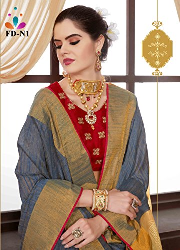 Da Facioun Indian Sarees For Women Wedding Designer Party Wear Traditional Saree. Da Facioun Saris Indiens Pour Les Femmes Portent Partie Concepteur De Mariage Sari Traditionnel. Gray 1 Gris 1