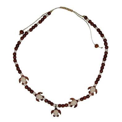 Amazon Com Hawaiian Sea Turtle Honu Koa Wood And Bone Necklace Jewelry