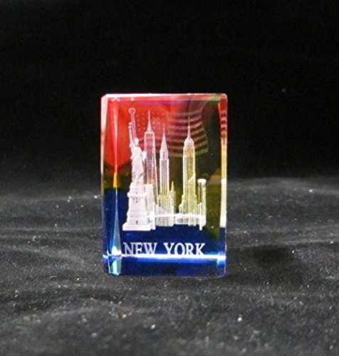 New York Souvenir NYC Skyline 3D Color Crystal Laser Etched Glass Paperweight with Statue of Liberty Empire State Building Freedom Tower USA Flag Mini Size (64004)
