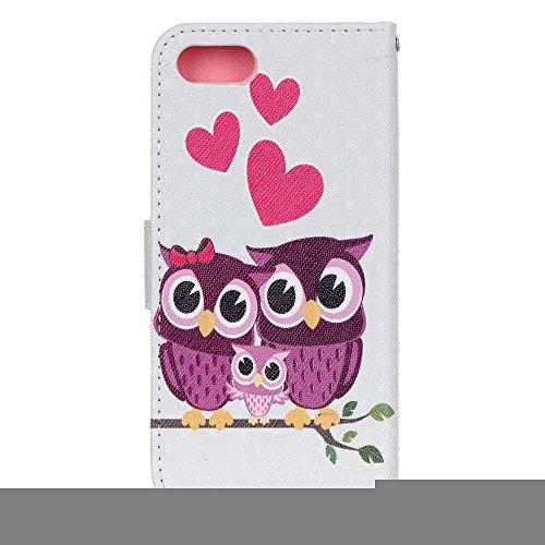 Apple iPhone 7Sac étui Cover Case de protection famille de chouettes Multicolore decui Multicolore Housse en simili cuir