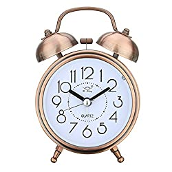 Jeteven Vintage Silent Alarm Clock Loud Twin Bell Mute Alarm Clock Quartz Analog Retro Bedside and Desk Clock with Nightlight,Copper
