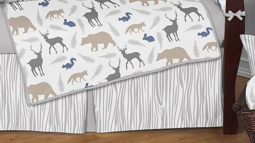 Sweet Jojo Designs 9-Piece Blue Grey and White Woodland Animal Safari Baby Boys Bear Deer Fox Crib Bedding Set