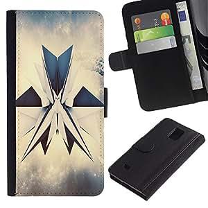Billetera de Cuero Caso Titular de la tarjeta Carcasa Funda para Samsung Galaxy Note 4 SM-N910 / abstrakciya render grani figura / STRONG