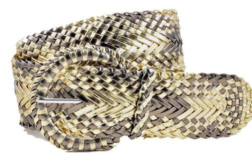 Women's Fashion Web Woven Braid Faux Leather Metallic Wide Belt, L 43