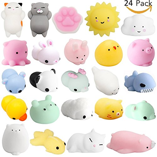 Mochi Squishys Toys, 24 Pcs Cute Kawaii Squishies Animals Stress Relief Toys For Kids Adults Soft Squeeze Reliever Anxiety Toys Cat Panda Seal Polar Bear Fox Rabbit Cat Claw Easter Egg Fillers Gifts by Amarko