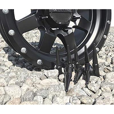 Wheel Accessories Parts Set of 20 Black Spiked Solid Metal Lug Nuts 1/2 x 20 Thread 4.4 Inch Tall Closed End Bulge Acorn Spike Lug Nut 1 Long Socket Key: Automotive