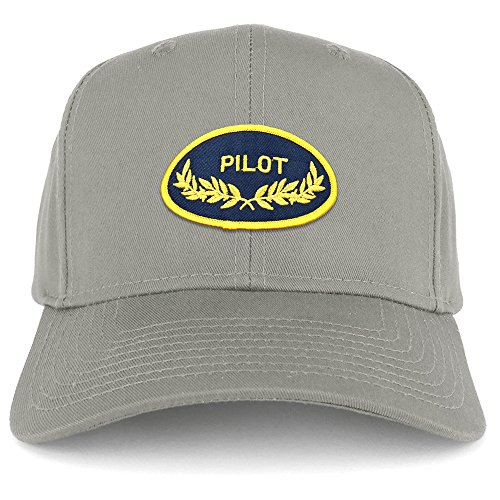 Armycrew Pilot Oak Leaf Oval Embroidered Patch Snapback Baseball Cap - Grey (Cap Oval Patch)