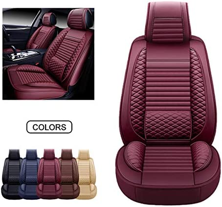 OASIS AUTO OS-002 Leather Car Seat Covers Faux Leatherette Automotive Vehicle Cushion Cover for Cars SUV Pick-up Truck Universal Fit Set for Auto Interior Accessories (Front Pair Burgundy)