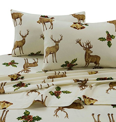 Tribeca Living HORE170SHEETKI Flannel Deep Pocket Sheet Set, King, Holiday Reindeer (Reindeer Flannel)