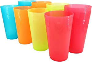 Plastic Tumblers Large Cups 35-Ounce BPA-Free Dishwasher Safe Unbreakable Set Of 12 Drinking Glasses