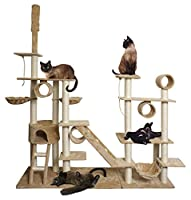 """96"""" Tan White Cat Tree Play House Gym Tower Condo by Tamsun"""