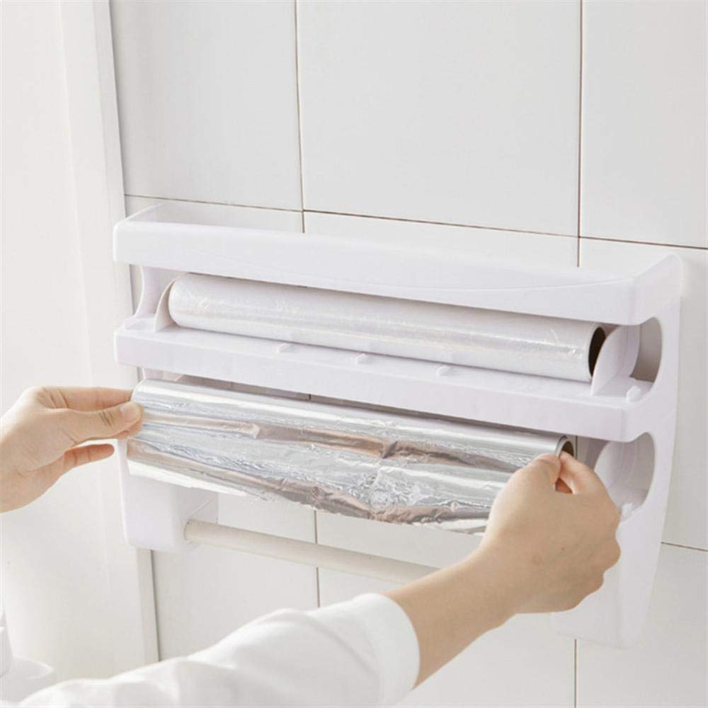 Amazon.com: Multifunctional Kitchen Cling Film Storage Rack Wall Mounted Sauce Bottle Shelf Paper Towel Holder With Cutting Device (White): Kitchen & Dining