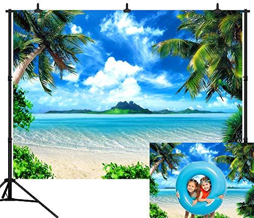 DePhoto 9X6FT(270X180CM) Blue Sky Sea Beach Seamless Vinyl Photography Backdrop Photo Background Studio Prop PGT116B -