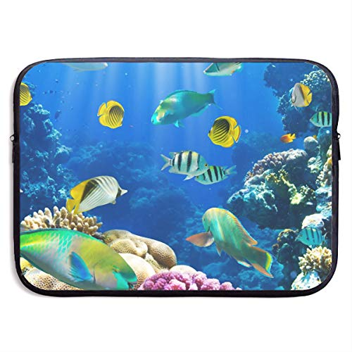 13-15 Inch Laptop Sleeve Summer Marine Animal Theme Deep Sea Fish Corals Notebook Computer Pocket Case/Tablet Briefcase Carrying Bag MacBook Bag for -