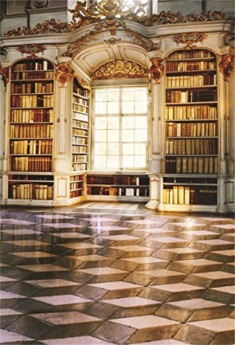 AOFOTO 5x7ft Artistic Backdrops Girl Photography Background Retro Luxury Bookcase Bright Window Books Checkered Tile Floor Adult Baby Toddler Boy Portrait Scene Studio Props Video Kid Photo Shoot