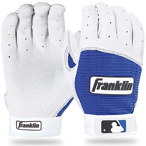 Franklin Sports Adult MLB Pro Classic Batting Gloves, Adult Large, Pair, Pearl/Royal ()