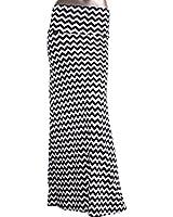 Azules Women's Stretchy Slinky Fabric Maxi Skirt