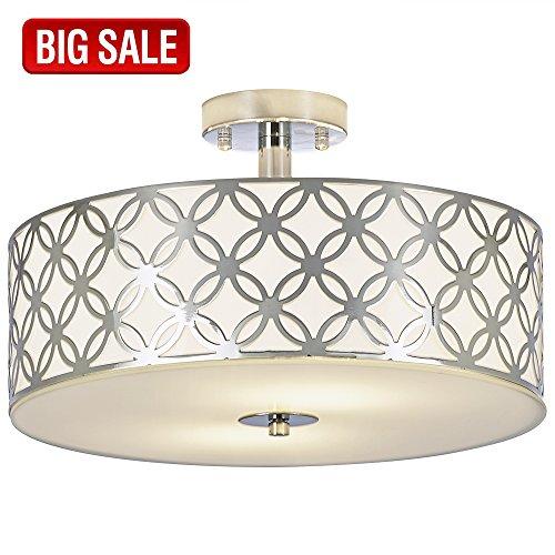 c4beaa39b4e SOTTAE Luxurious Living Room Bedroom Ceiling lamp Creamy White Glass  Diffuser Chrome Finish Flush Mount Ceiling Light